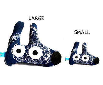 squeaky stinky dog toy navy blue pattern large and small