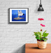 room decor stinky dog framed print ocean shark