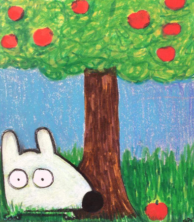 Stinky Dog-Original Art | Stinky Under the Apple Tree