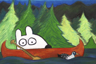 Stinky Dog-Original Art | Stinky In A Canoe
