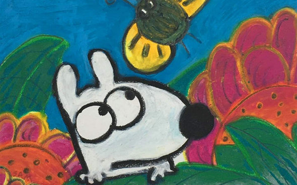 Stinky Dog original art summer with flowers and bees