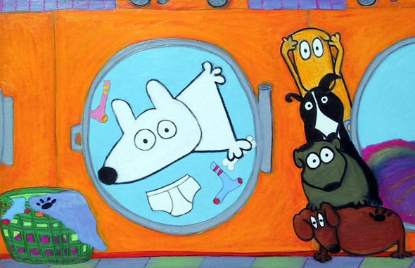 Stinky Dog-Original Art | Stinky Washing Machine