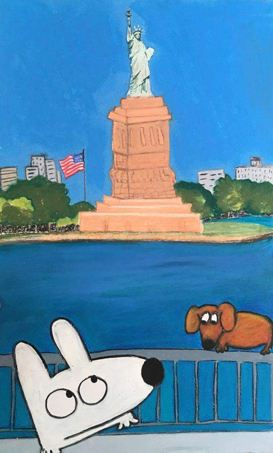 Stinky Dog-Original Art | Stinky At The Statue Of Liberty