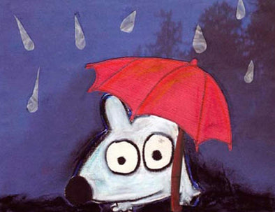 Stinky Dog-Original Art | Stinky In The Rain