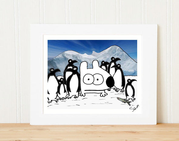 stinky dog with penguins