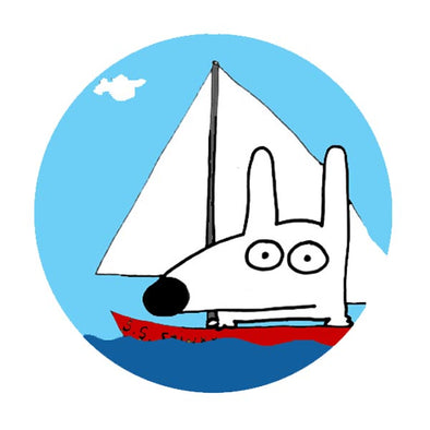 stinky dog sailing on the ocean