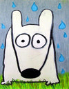 stinky dog in the rain