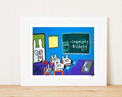 Matted Art Print | Stinky Dog At School