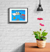 room decor stinky dog framed print scuba