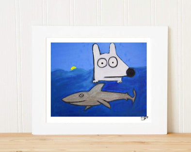 Matted Art Print | Stinky Dog In The Ocean