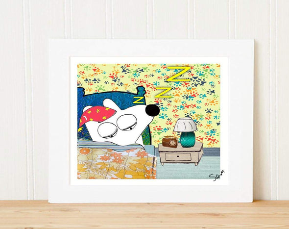 Matted Art Print | Stinky Dog Sleeps in his bed