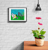 room decor stinky dog framed print soccer