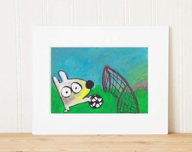 Matted Art Print | Stinky Dog Soccer