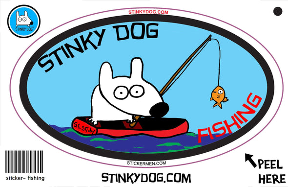 Stinky Fishing-sticker-Stinky Dog