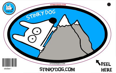 Stinky Hiking-sticker-Stinky Dog