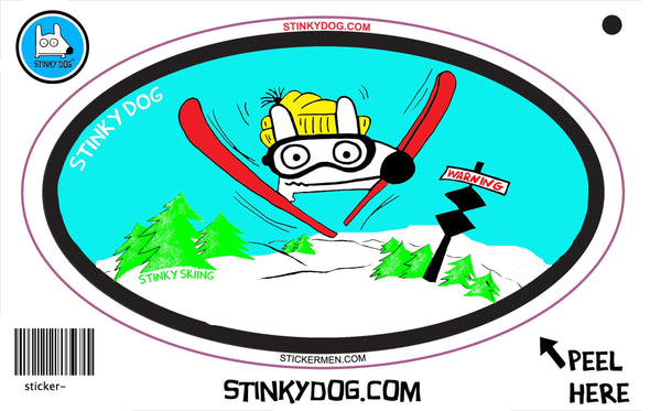 Stinky Skiing-sticker-Stinky Dog