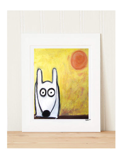 Matted Art Print | Stinky Dog In The Sun