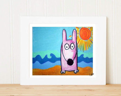 Matted Art Print | Stinky Dog At The Beach
