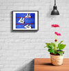 room decor stinky dog framed print swimming