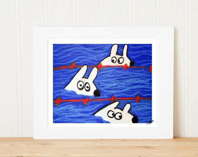 Matted Art Print | Stinky Dog Swimming