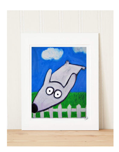 Matted Art Print | Stinky Dog Escape