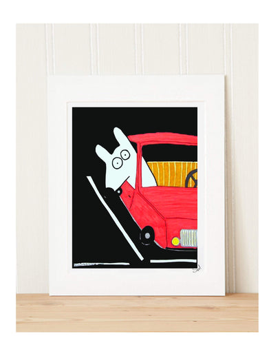 Matted Art Print | Stinky Dog In The Parking Lot