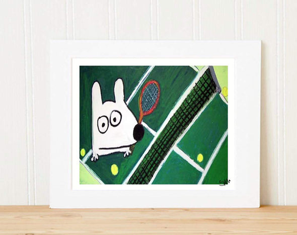 Matted Art Print | Stinky Dog Tennis