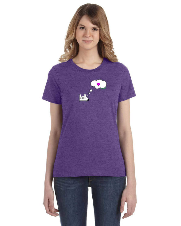Stinky Dog women's t-shirt-Thinking of Hearts T-Shirt