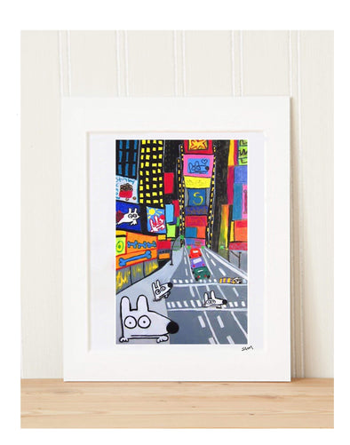 Matted Art Print | Stinky Dog In Times Square