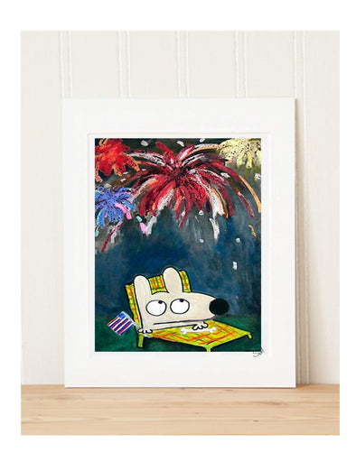 Matted Art Print | Stinky Dog In The USA
