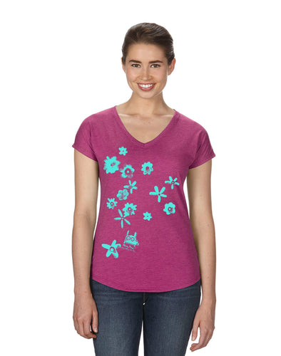 Stinky Dog women's t-shirt-Flowers V-Neck T-Shirt