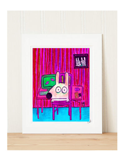 stinky dog at work art print