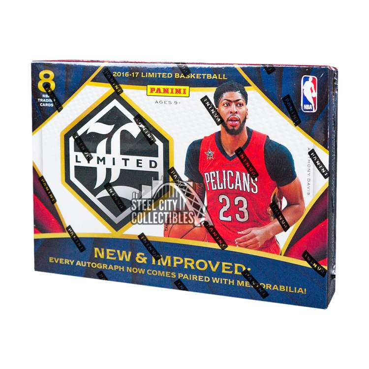 2016-17 Panini Limited NBA Basketball Cards delivers 2 Autographed Memorabilia or Memorabilia Cards in Every Box! All new in 2017 - every Autograph in Limited Basketball is paired with a Memorabilia Swatch and all Autographed & Memorabilia cards are numbered to 99 or less! In great condition in factory plastic.
