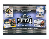 This set comes with 7 autographs (or vintage mem) per box. Leaf Trading Cards is pleased to announce the return of one of the industry's most popular and exciting hockey products with 2016-17 Leaf Metal Hockey! Featured on Leaf's patented metal technology! Look for Base Auto The most comprehensive hockey prospect signature set on the market featuring future stars. In great condition in original box.