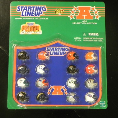 This is a collection of AFC helmets from Starting Lineup.This is all of the AFC teams in one package. Package has wear due to age. Made in 1989