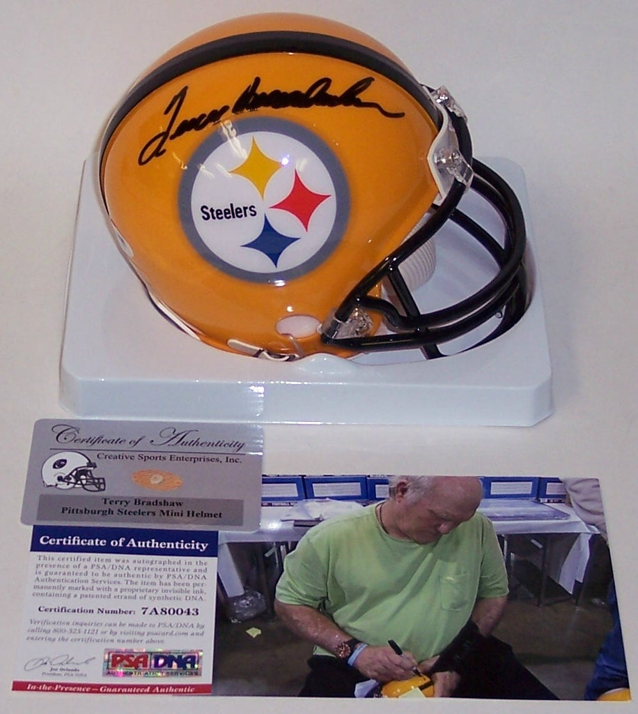 0d05c60bb Terry Bradshaw Autographed Hand Signed Steelers Yellow Mini Helmet - PSA DNA