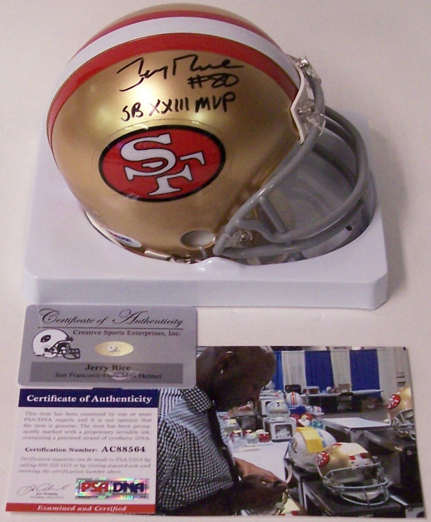 dfd68d312 Jerry Rice Autographed Hand Signed 49ers Throwback Mini Helmet - PSA ...
