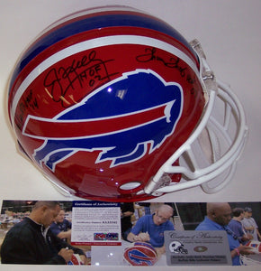 Andre Reed, Thurman Thomas & Jim Kelly Autographed Hand Signed Buffalo Bills Throwback Authentic Helmet - PSA/DNA