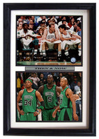 12x18 Double Frame - Boston Celtics Then and Now