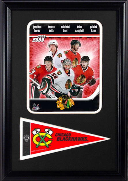 "2009 Chicago Blackhawks Photograph with Team Pennant in a 12"" x 18"" Deluxe Photograph Frame"