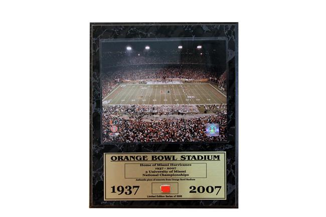 12x15 Game Used Plaque - University of Miami Orange Bowl Stadium