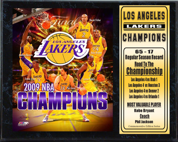 12x15 Stat Plaque - Los Angeles Lakers Champions
