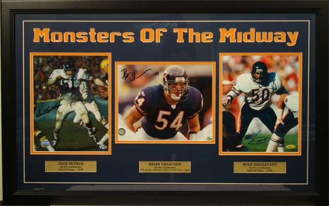 "15x35 Three Photo Autographed Frame - Chicago Bears ""Monster of the Midway"""