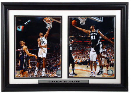 12x18 Double Frame - San Antonio Spurs Then and Now