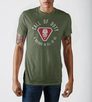 Call of Duty A Solider In All Of Us Vintage Skull Badge Men's Military Green Soft Hand Print T-shirt