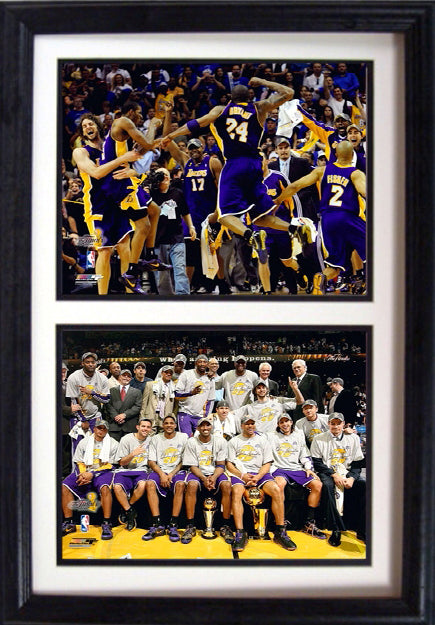 12x18 Double Frame - Los Angeles Lakers Champions