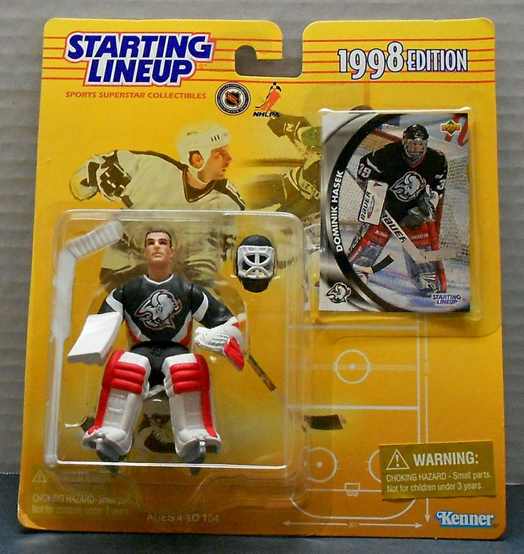 This is a Starting Lineup of Dominik Hasek 1998 Edition wearing his home Buffalo Sabers uniform.The figure is approx 5' and comes with his stick,helmet and collectors card.Package has wear due to age.Made by Kenner