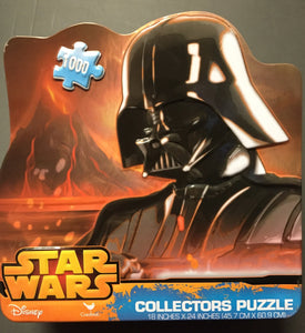"This is a Darth Vader 1000 Piece Cardinal Star Wars Collectors Jigsaw Puzzle 18""x24"". puzzle is of Darth Vader with a volcano erupting on the background with orange flames all over. In perfect condition. Made by Disney."