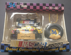 Ken Schrader #36 M&M's 2002 Dated Collectible Ornament Two Piece Set