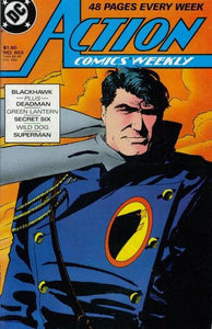 This is DC's Action Comics issue #603, released in June of 1988. This comic features stories of Blackhawk and Deadon, The Green Lantern, The Secret Six, WIld Dog, and Superman, with Blackhawk featured on the cover.